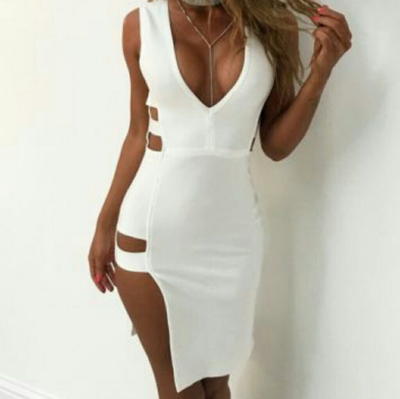 c965f287f49 White club dress with side cut and deep v neck